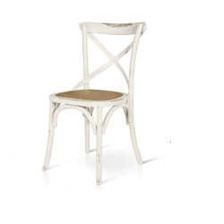 Sedia Cross stile country shabby Vintage Bianco in Olmo con seduta in rattan  naturale