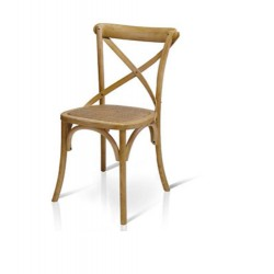 Sedia Cross stile country in Olmo lucido naturale con seduta in rattan  naturale