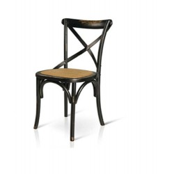 Sedia Cross stile country shabby Vintage Nero in Olmo con seduta in rattan  naturale
